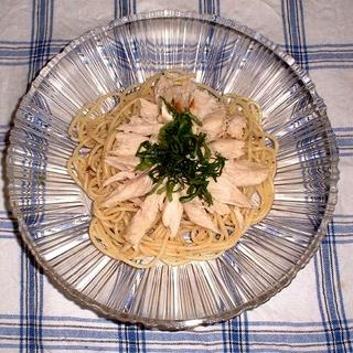 鶏肉と大葉の冷製パスタ