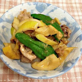 シシトウと筍の味噌炒め