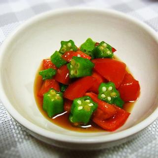 夏にぴったり! トマトとオクラの麺つゆ和え