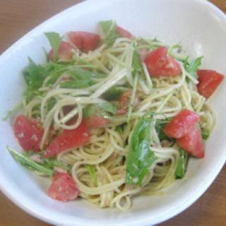 トマトと水菜の冷製パスタ 【パスタソース・ジェノベーゼ】