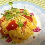 うまからもやしたれで〜ピリ辛トマトの卵とじ☆